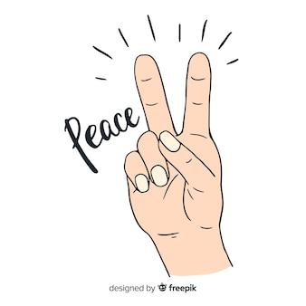 Klassieke vredesvingers met hand getrokken stijl