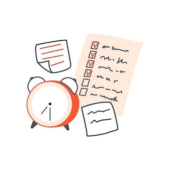 Klassieke wekker en aantekeningen op papier checklist en memostickers concept van beheer en planning