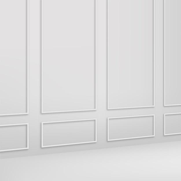 Klassieke witte binnenmuur. vector.
