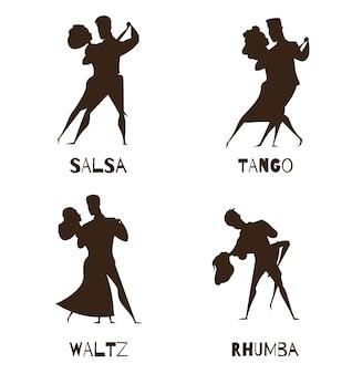 Klassieke zwarte de beeldverhaalinzameling van de partner retro dans met walsentango en salsa geïsoleerde vectorillustratie