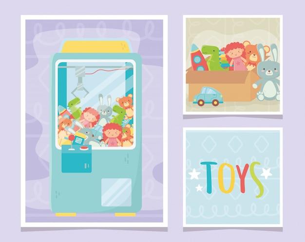 Klauwmachine en speelgoed uit kartonnen dozen
