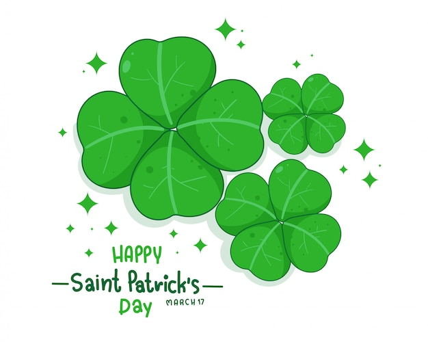 Klaver verlaat st patricks day illustratie logo. premium vector
