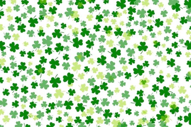 Klaverblad plat ontwerp groene achtergrond achtergrond patroon vectorillustratie