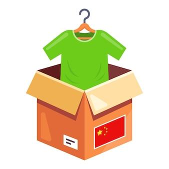 Kleding bestellen uit china. levering van een pakket met kleding aan huis. platte snijder illustratie.