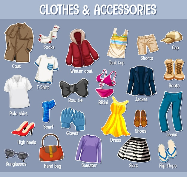 Kleding en accessoires met namen geïsoleerd op paarse achtergrond