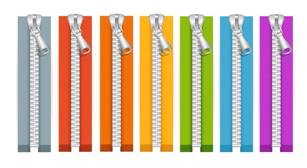 Kleding kleurrijke zip collectie gesloten posities. vector illustratie