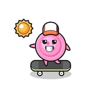 Kleding knop karakter illustratie rijden op een skateboard, schattig ontwerp