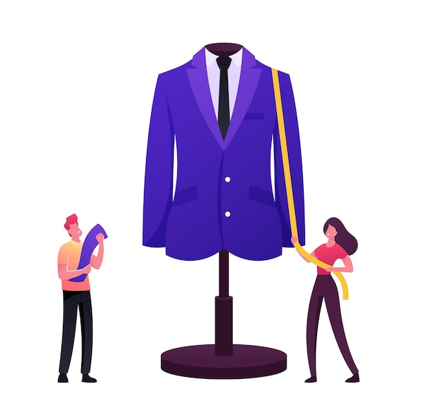 Kleding- of modeontwerperpersonages die kledingstuk projecteren op een enorme etalagepop