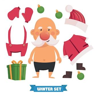 Kleding op de kerstman. kerst en nieuwjaarskaart