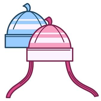 Kleding voor jongens en meisjes, geïsoleerde gebreide mutsen voor winter en koud weer. gebreide kleding voor kinderen, accessoires voor kinderen. wollen hoofddeksels voor mannen en vrouwen, katoenen stoffen vector in vlakke stijl