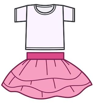 Kleding voor kinderen, geïsoleerde kostuumset van shirttop en rok. meisjeskleding voor speciale gelegenheden. dansoutfit voor peuterkleding. roze pak trendy look voor feest. vector in vlakke stijl