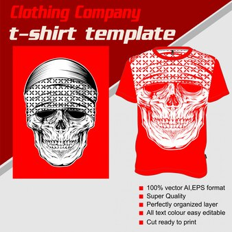 Kledingbedrijf, t-shirt sjabloon, schedel die bandana draagt