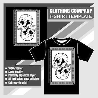 Kledingbedrijf, t-shirt sjabloon, schedel hand tekenen