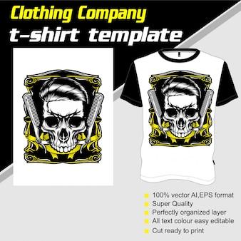 Kledingbedrijf, t-shirt sjabloon, schedel kapperszaak