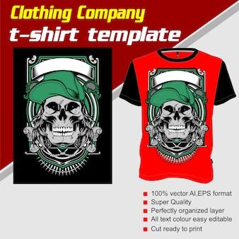 Kledingbedrijf, t-shirt sjabloon, schedel met cap
