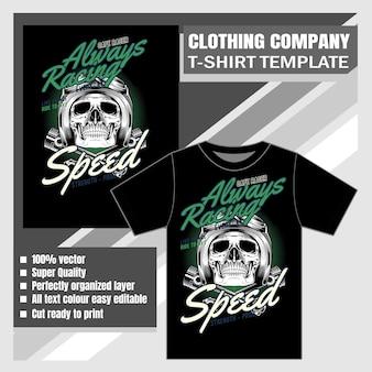 Kledingbedrijf, t-shirt sjabloon, schedel met helm op