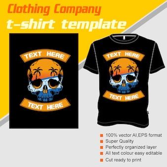 Kledingbedrijf, t-shirt sjabloon, schedel zomer