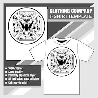 Kledingbedrijf, t-shirt sjabloon, spookachtige pitt bull brult met schedels