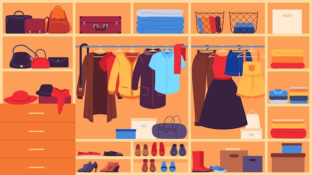 Kledingkast. binnenruimte kast, planken en hangers met kleding, schoenen en accessoires, organisatie en opslag kleding platte vector set. kledingkast vrouwelijke kleding, kleding opslag illustratie
