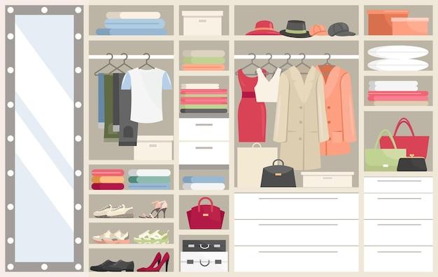 Kledingkast met kleren. geopende kastcompartimenten met dames, herenkleding, hangers kleedkamer