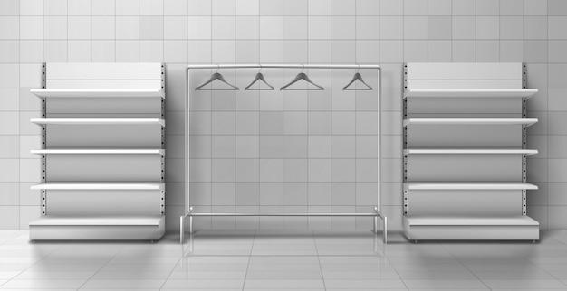 Kledingwinkel benodigdheden, meubels realistische vector