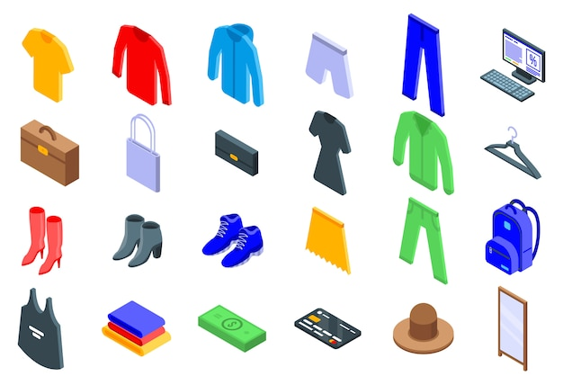 Kledingwinkel iconen set, isometrische stijl