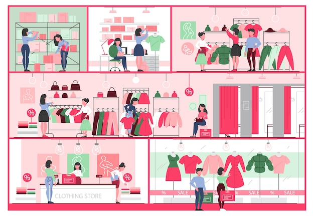 Kledingwinkel interieur. kleding voor mannen en vrouwen. toonbank, paskamers en planken met jurken. mensen kopen en proberen nieuwe kleren. illustratie