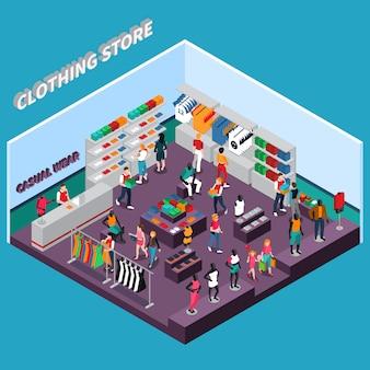 Kledingwinkel met mannequins isometrische samenstelling