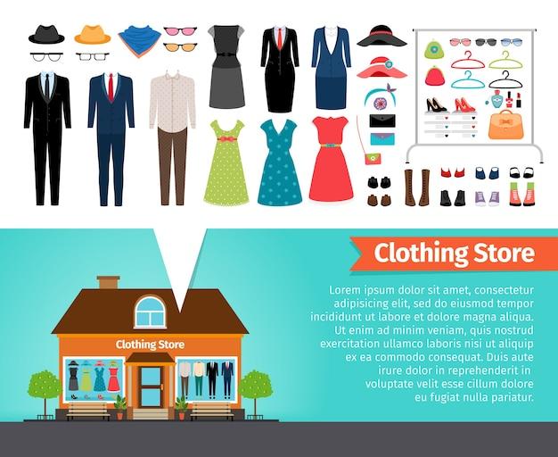 Kledingwinkel. set van kleding en gebouw. modecollectie, schoenen en verkoop, zakelijk winkelen.