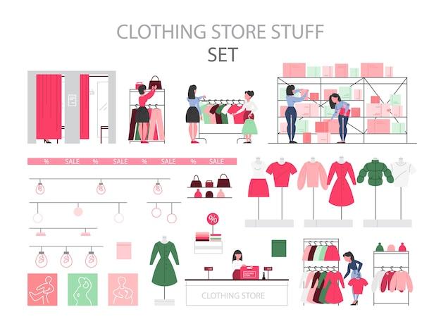 Kledingwinkel spullen set. kleding voor mannen en vrouwen. etalagepoppen, paskamers en planken. kledingwinkelpersoneel en mensen die nieuwe kleren kopen. illustratie