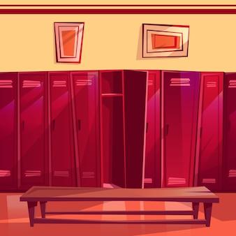 Kleedkamer illustratie van naadloze sportschool of school sport kleedkamer.