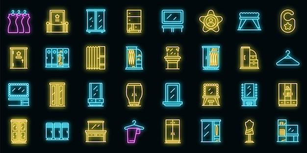 Kleedkamer pictogrammen instellen. overzicht set van kleedkamer vector iconen neon kleur op zwart
