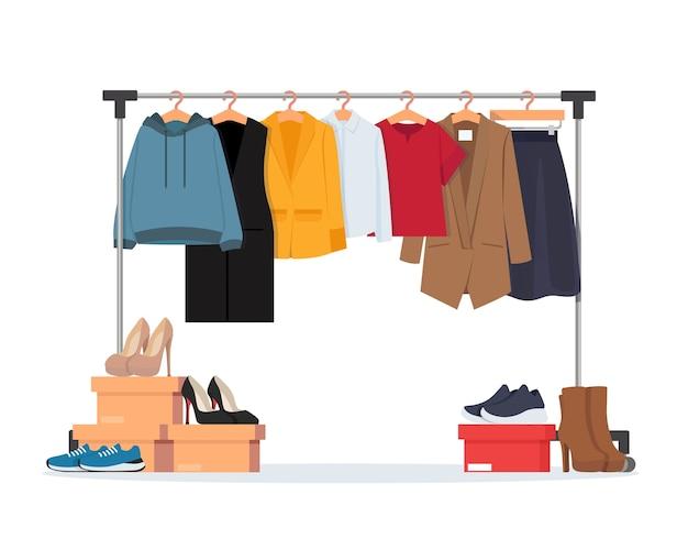 Kleerhanger met verschillende casual dameskleding, schoeisel. garderobe. illustratie in vlakke stijl.
