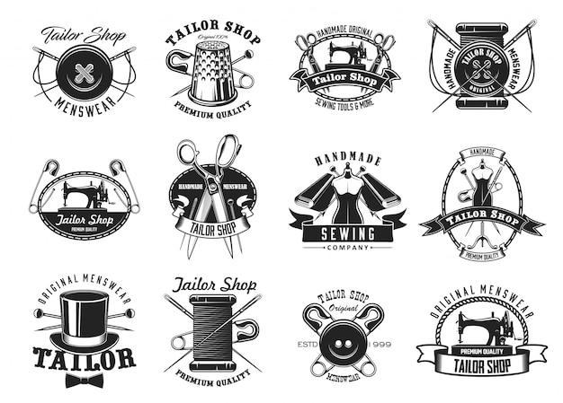Kleermaker, atelier naaister naaien pictogrammen