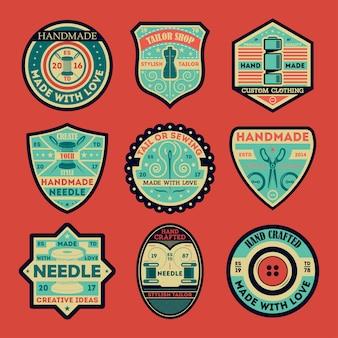 Kleermaker vintage geïsoleerde label en badge set
