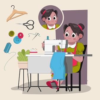 Kleermaker vrouw schattig 2d karakter klaar voor animatie compleet met job tools