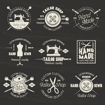 Kleermaker winkel set van vector lichte emblemen
