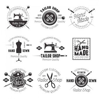 Kleermaker winkel set vector zwarte emblemen