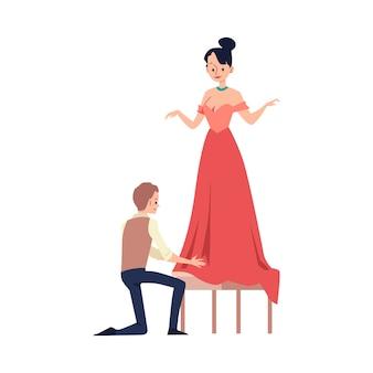 Kleermakerijproces met kleermaker of mode er illustratie.