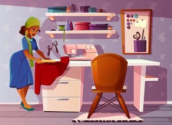 Kleermakerskamer met Aframericaanse vrouw. Studio met mooie naaister, naaimachine