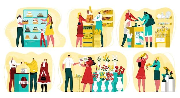 Klein bedrijf met eigenaarzakenman op het werk. bloemenkiosk, koffieshop, bakkerij en kunstwinkel. dienst voor kleine bedrijven, bezettingsconcept. eigen winkel of café.