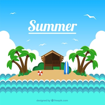 Klein eiland achtergrond in de zomer