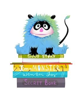 Klein harig monster voor kinderen die op een boekenstapel zitten, schattig bibliotheekwezen dat studeert om te lezen