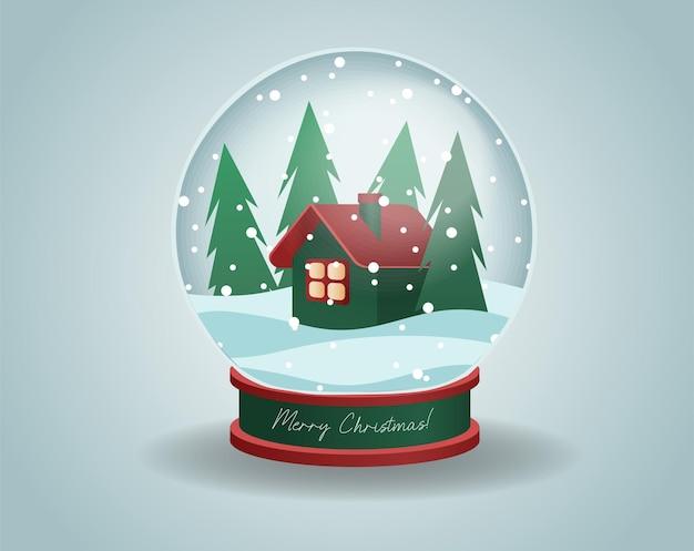 Klein huis in het dennenbos in kerstkristallen bol