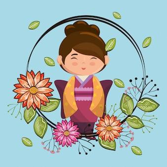 Klein japans meisje kawaii met bloemen karakter