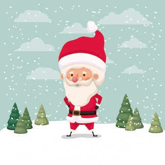 Klein kerstman-personage in snowscape