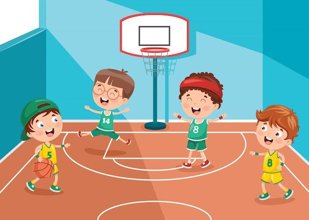 Klein kind basketbal spelen