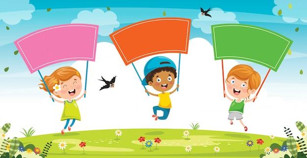 Klein kind met kleurrijke plakkaat