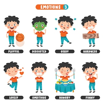 Klein kind met verschillende emoties