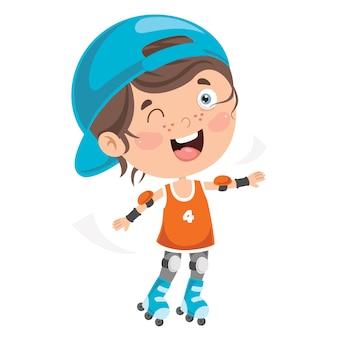 Klein kind rijden rolschaatsen